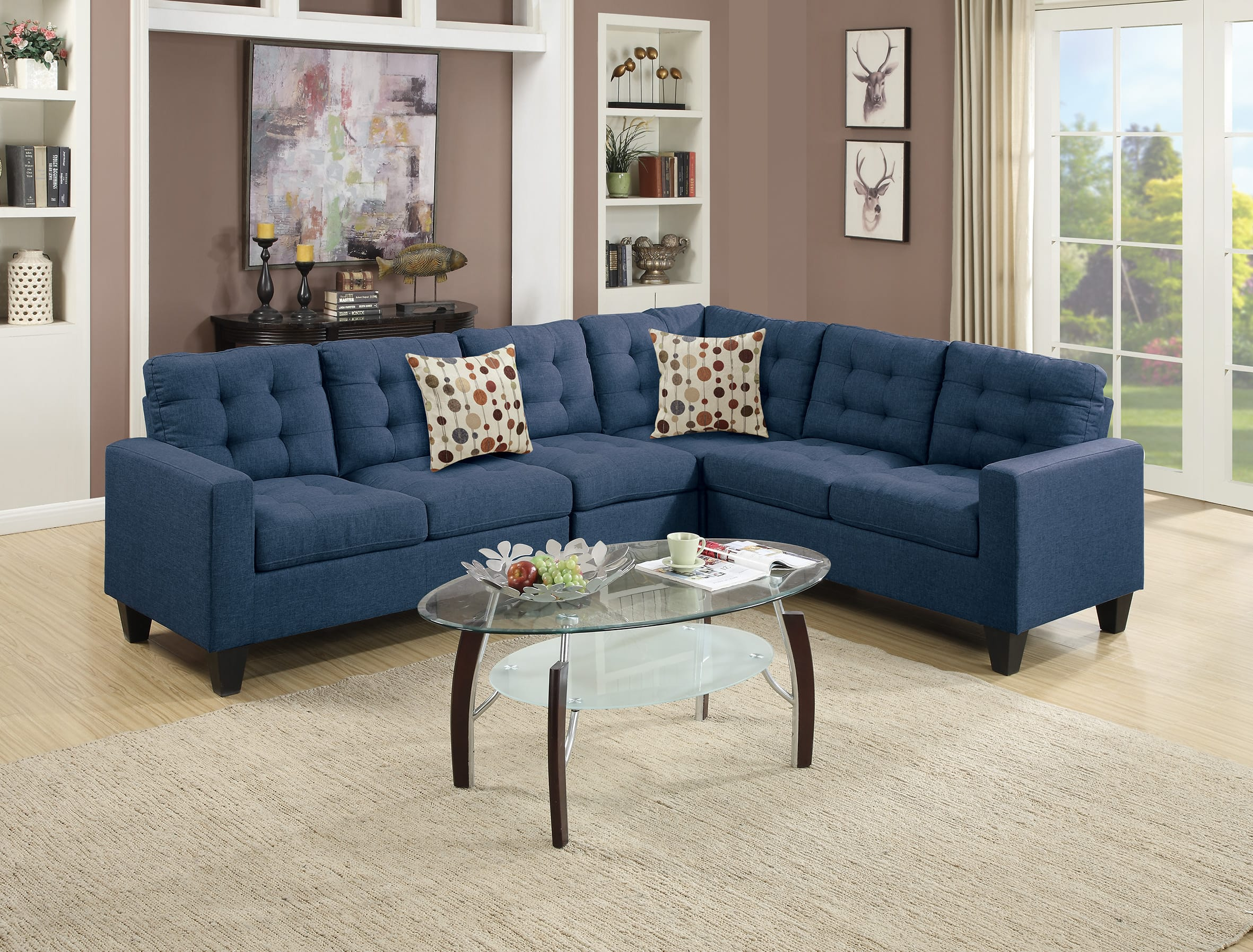 F6938 Navy Blue Sectional Sofa By Poundex