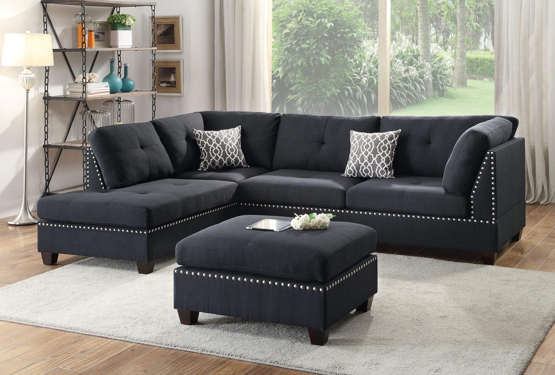 Swell F6974 Black 3 Pcs Sectional Sofa Set By Poundex Creativecarmelina Interior Chair Design Creativecarmelinacom