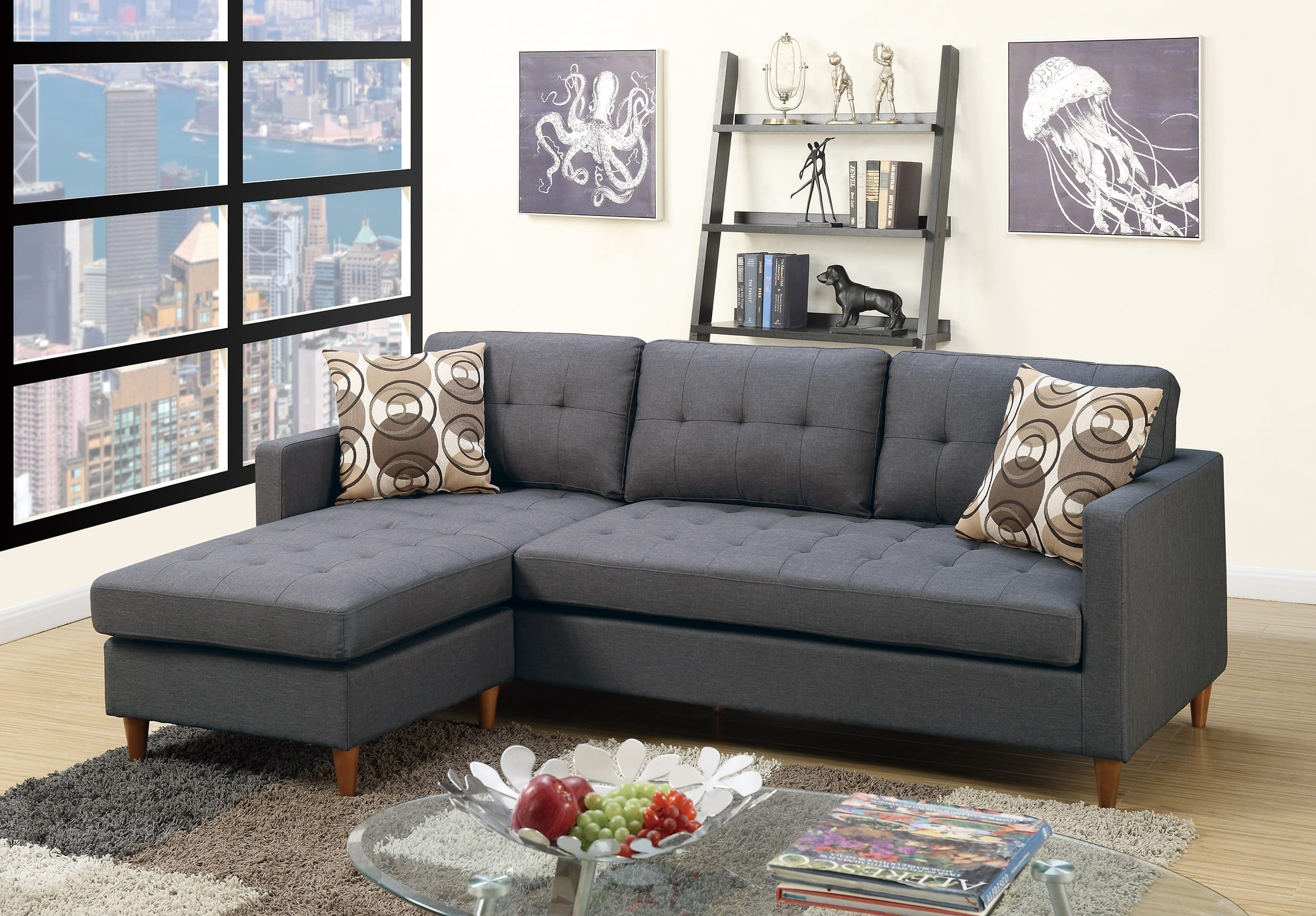 F7094 blue gray sectional sofa by poundex for Blue gray sofa