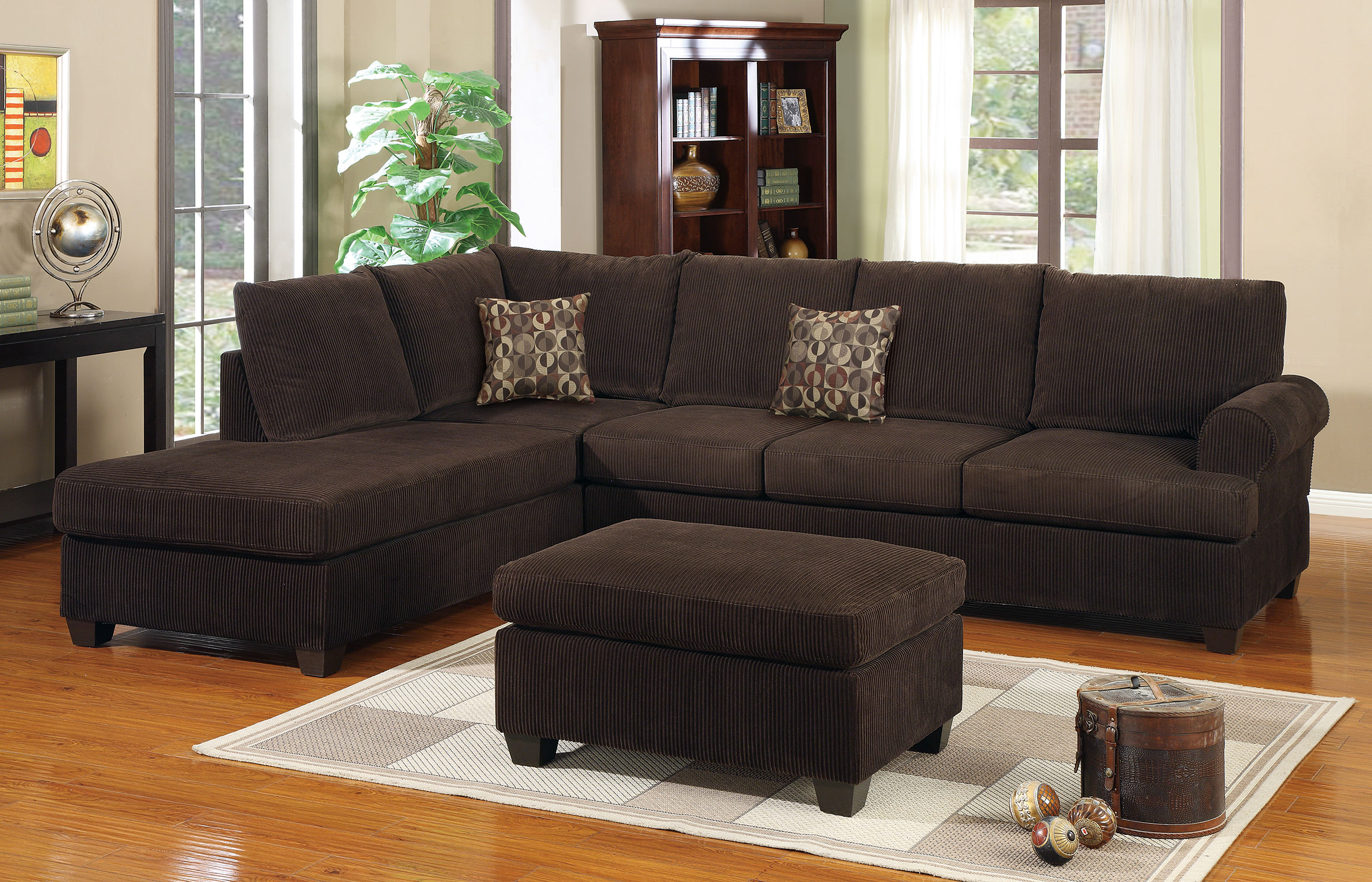 F7135 chocolate 2 pcs sectional sofa by poundex for Sectional sofa names