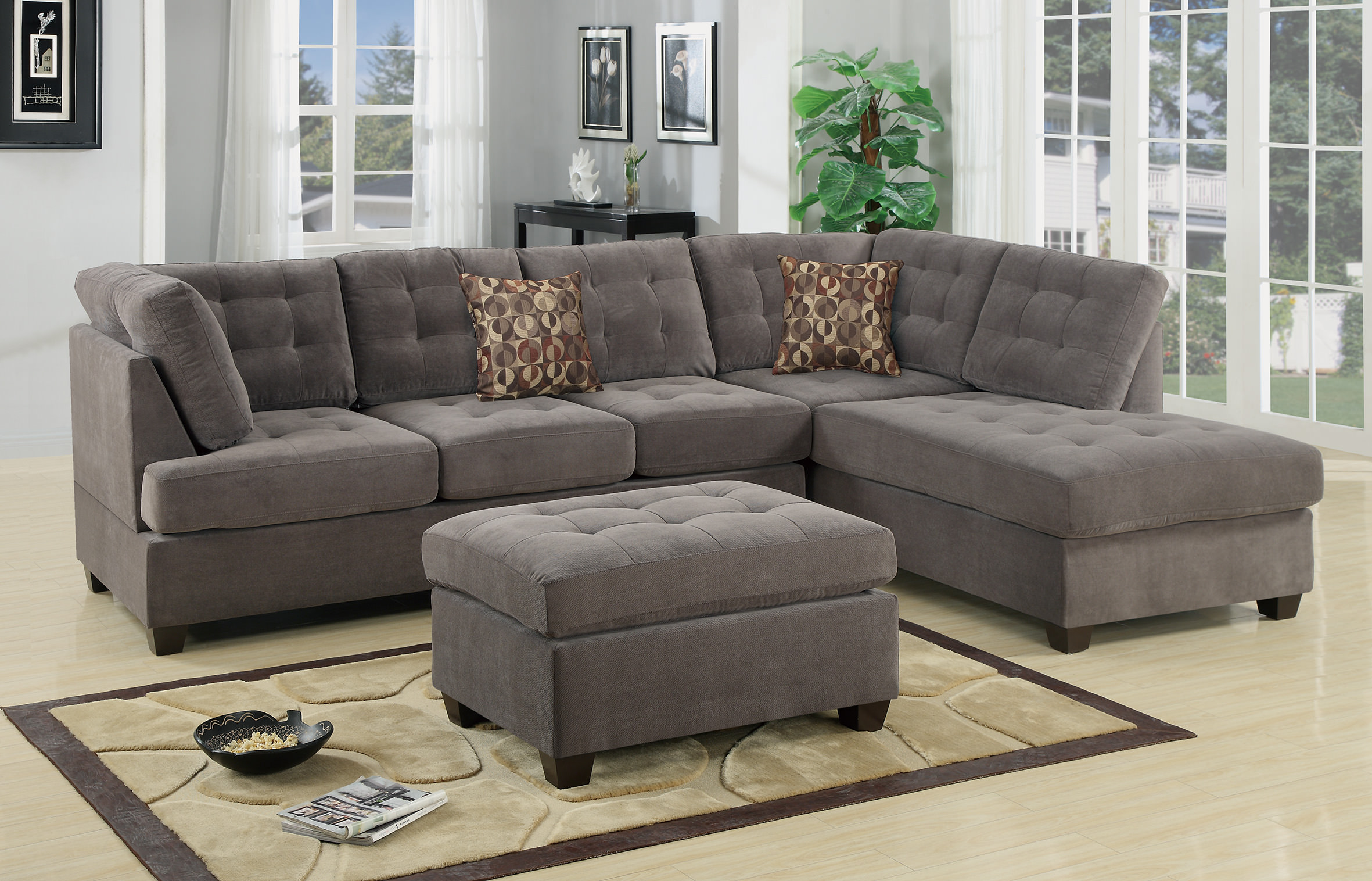 F7139 Charcoal 2 Pcs Sectional Sofa By Poundex