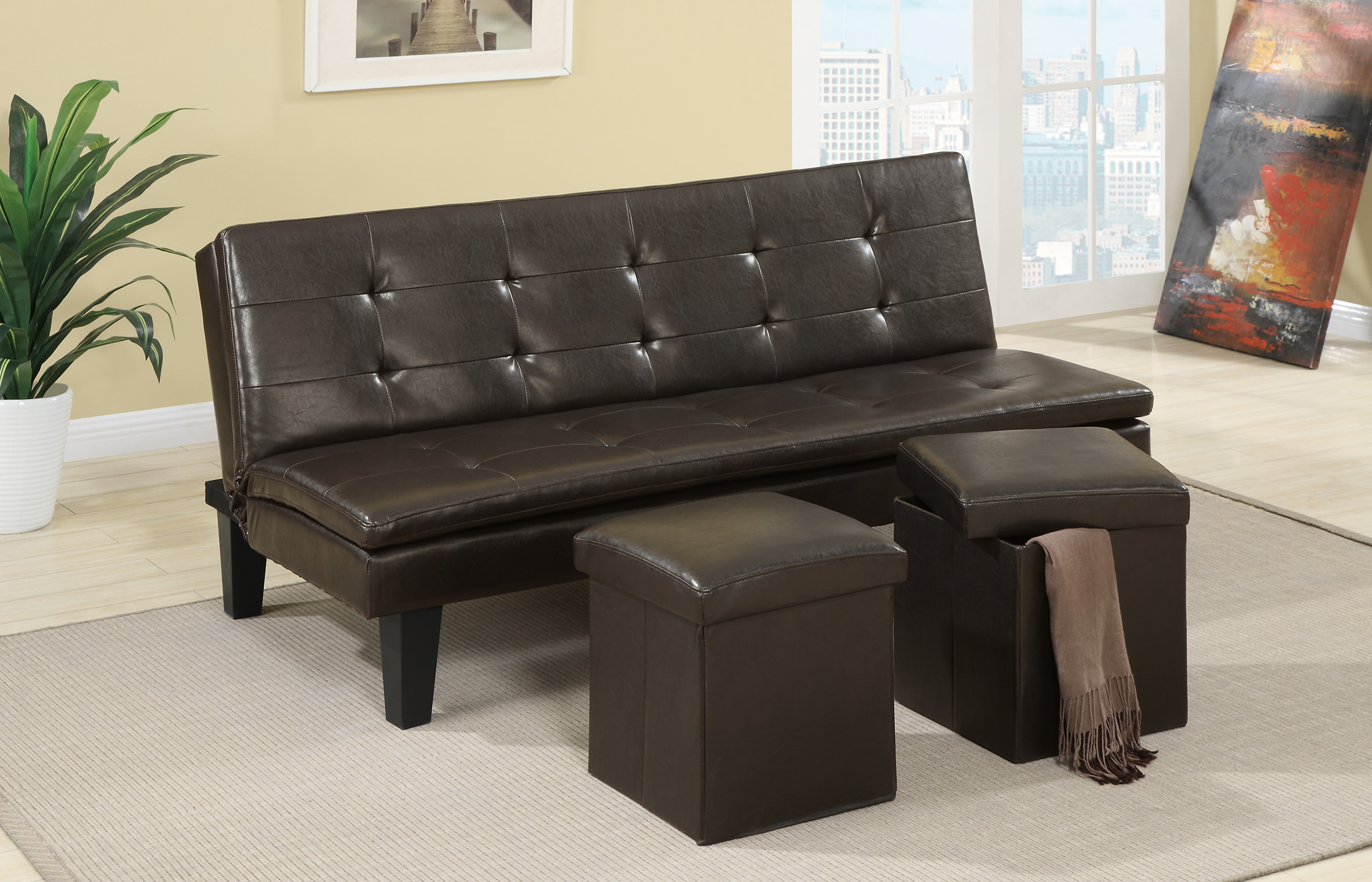 F7199 Espresso Convertible Sofa Bed With 2 Pcs Ottoman By