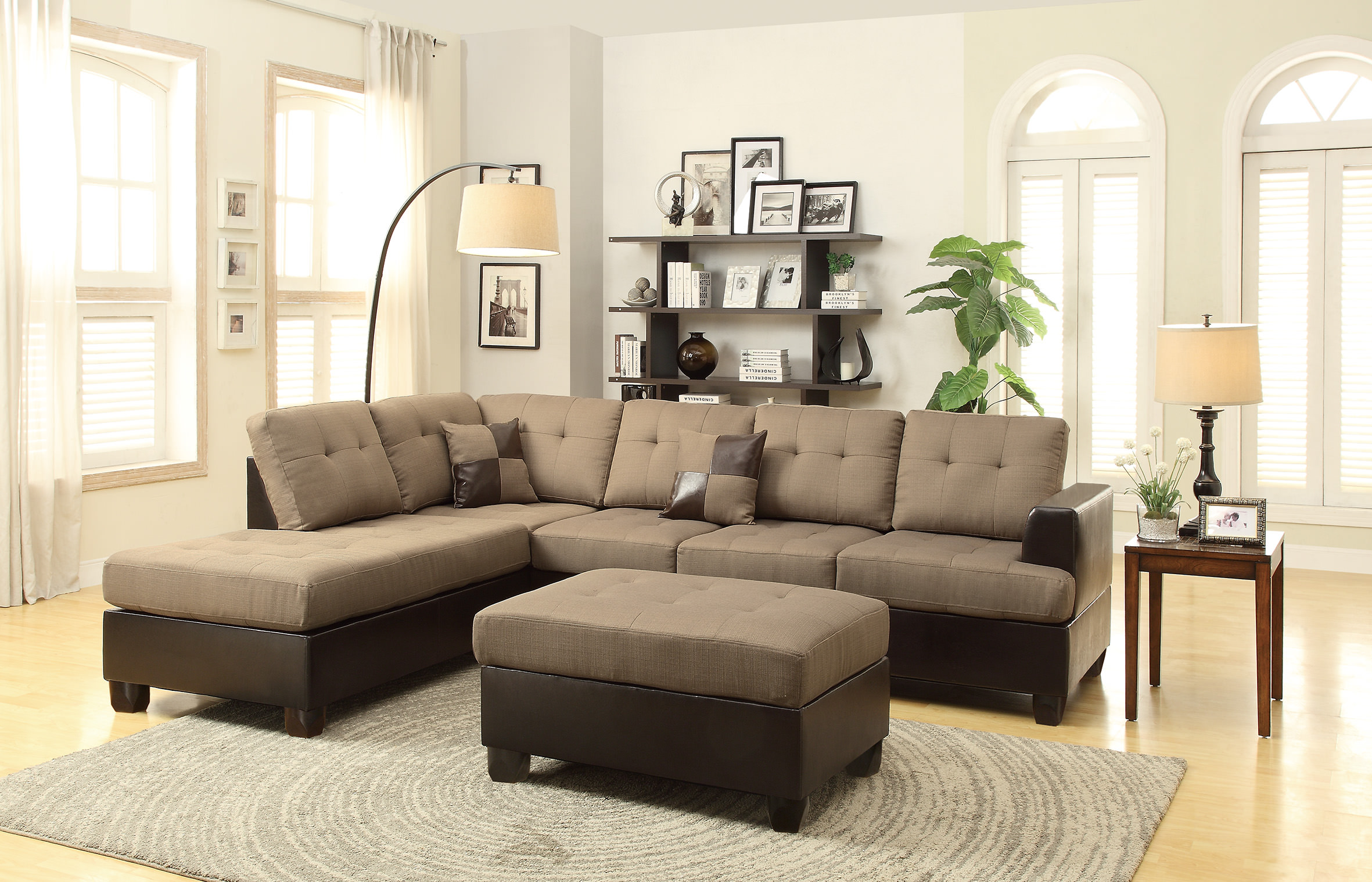 Amazing F7603 Tan 2 Pcs Sectional Sofa Set By Poundex Inzonedesignstudio Interior Chair Design Inzonedesignstudiocom
