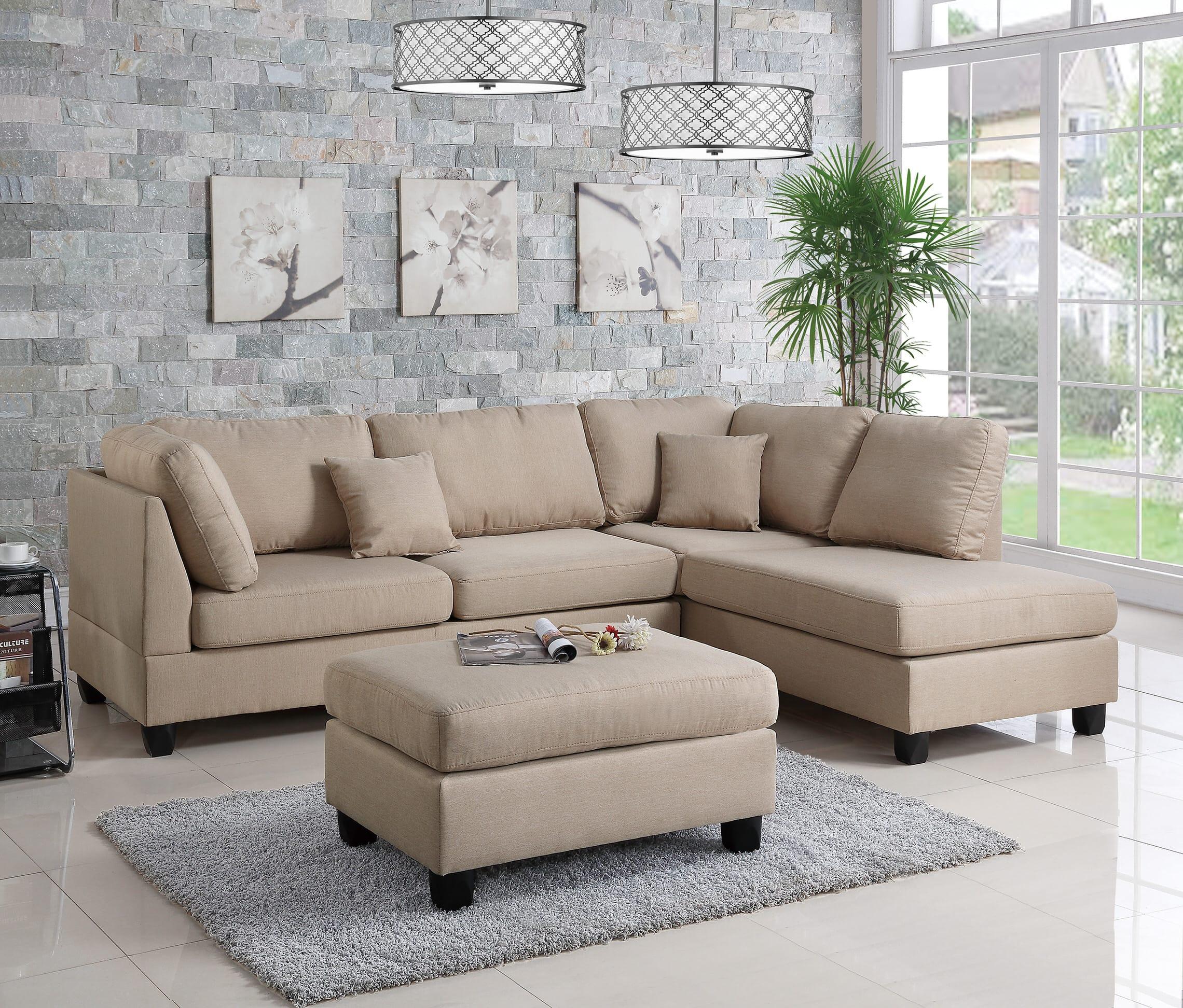 F7605 sand 2 pcs sectional sofa set by poundex - Sofa color arena ...