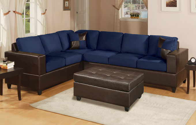 navy blue microfiber sectional sofa with recliners set associates corporation chaise