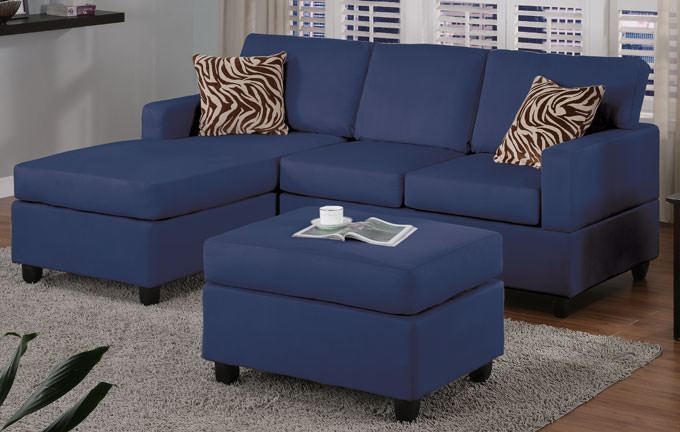 Sala Pequena Sofa Azul ~ F7667 Navy Blue Sectional Sofa Set by Poundex (Poundex Associates