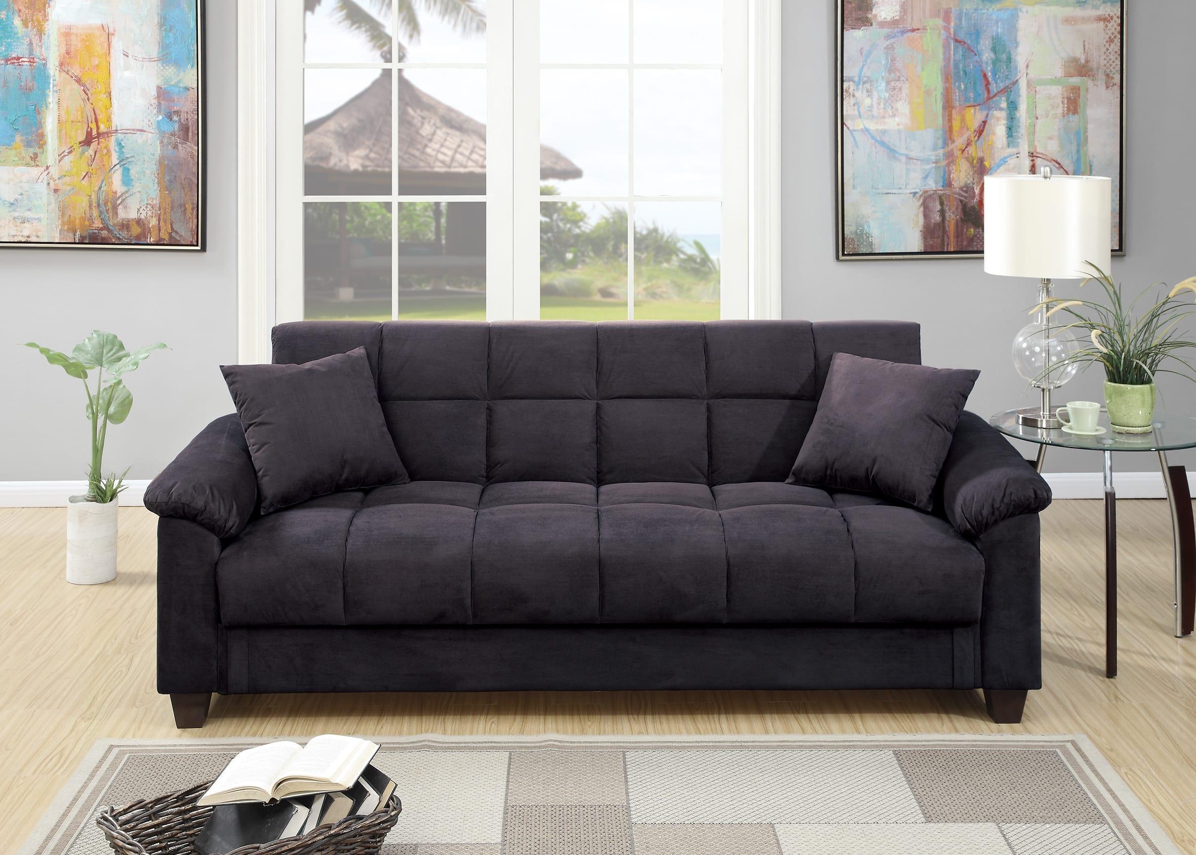 F7888 Ebony Convertible Sofa Bed by Poundex