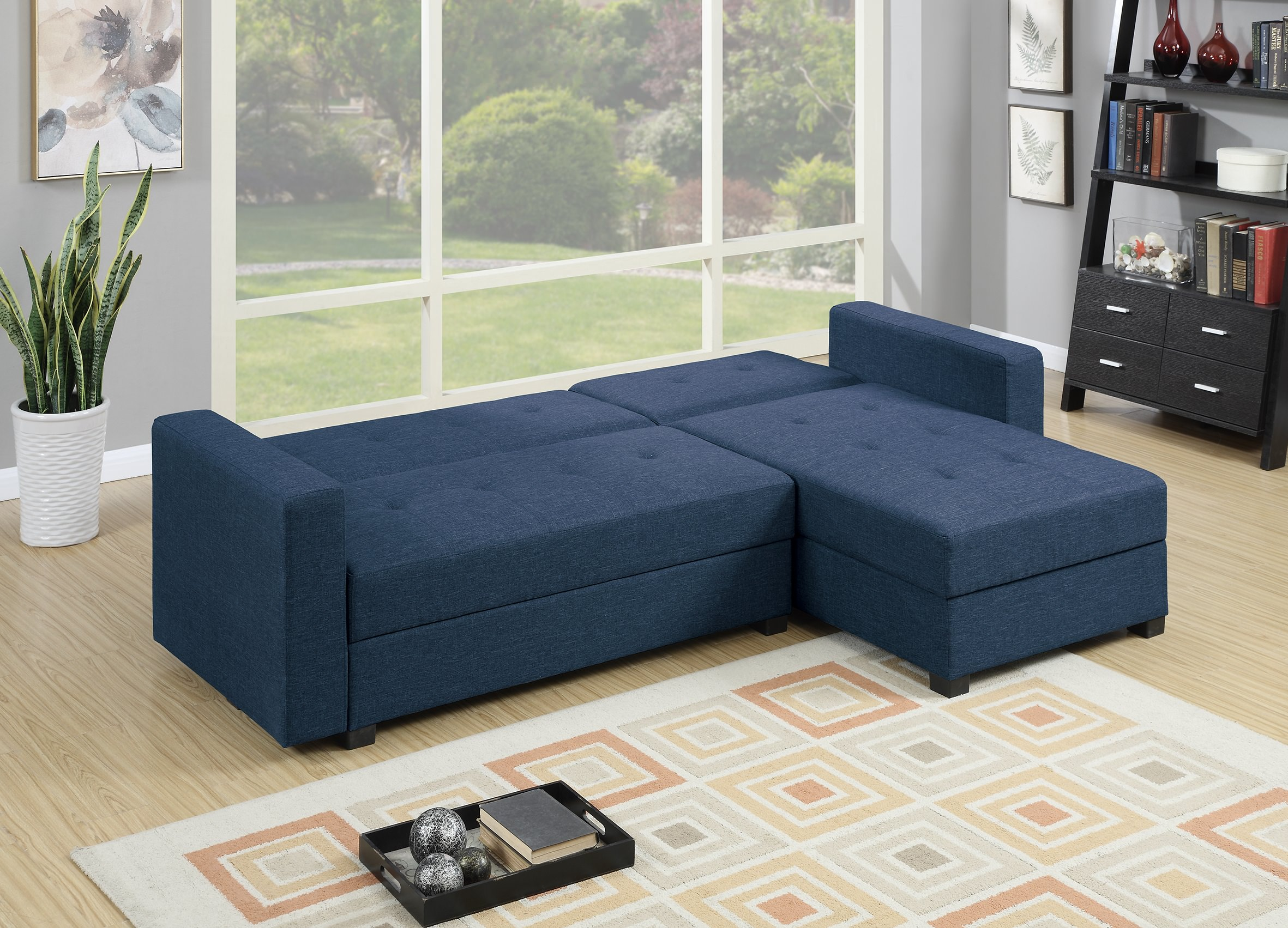 F7895 navy blue reversible chaise sectional sofa by poundex for Blue sectional with chaise