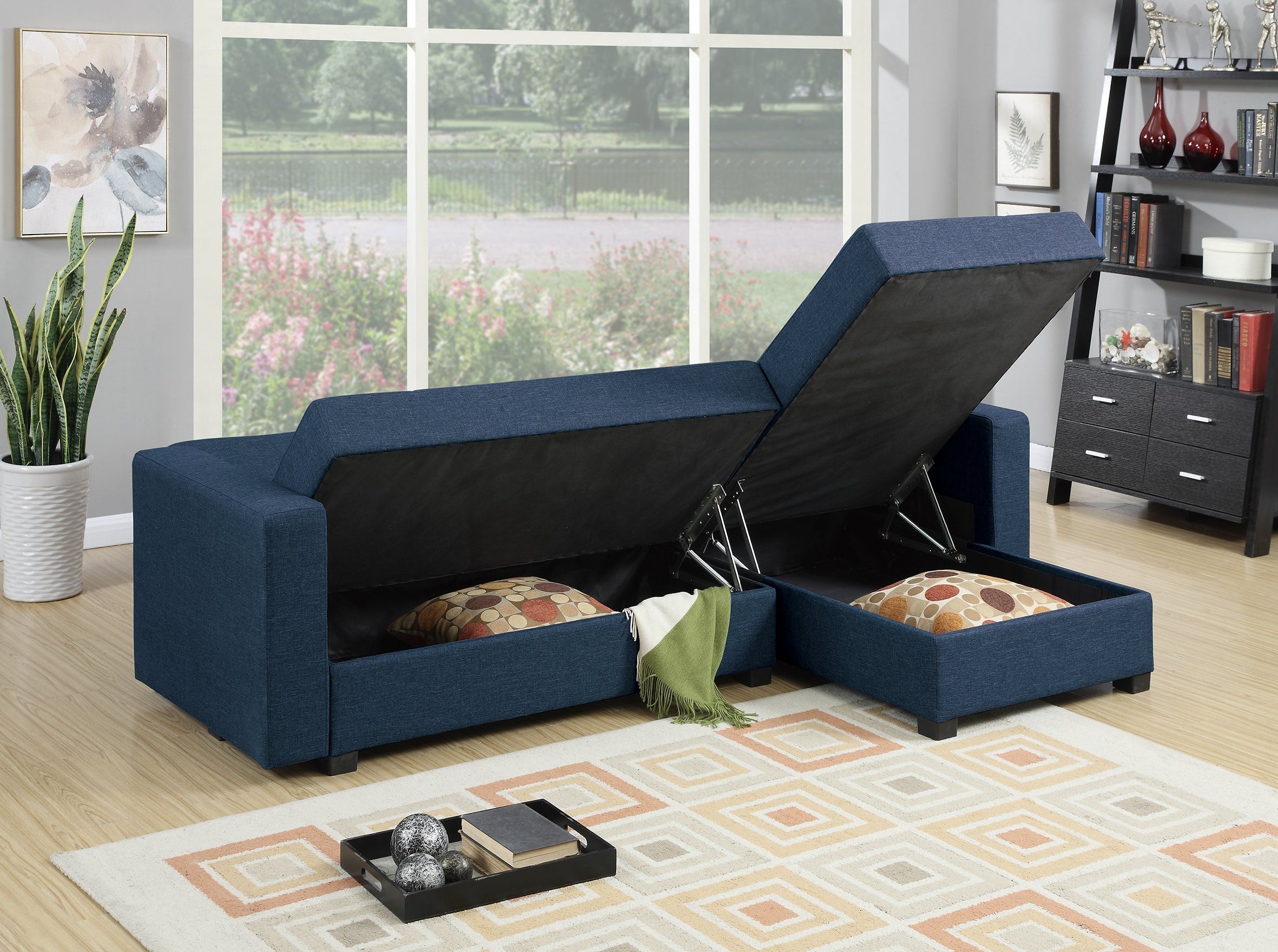 F7895 Navy Blue Reversible Chaise Sectional Sofa By Poundex
