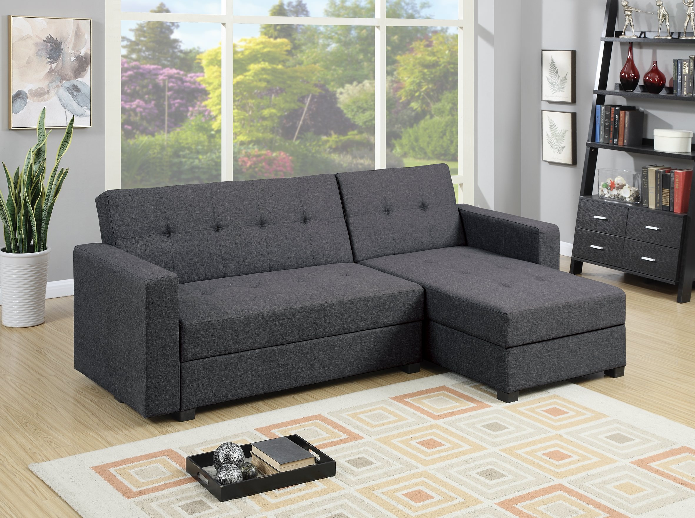 F7896 Gray Reversible Chaise Sectional Sofa By Poundex (Poundex Associates  Corporation)