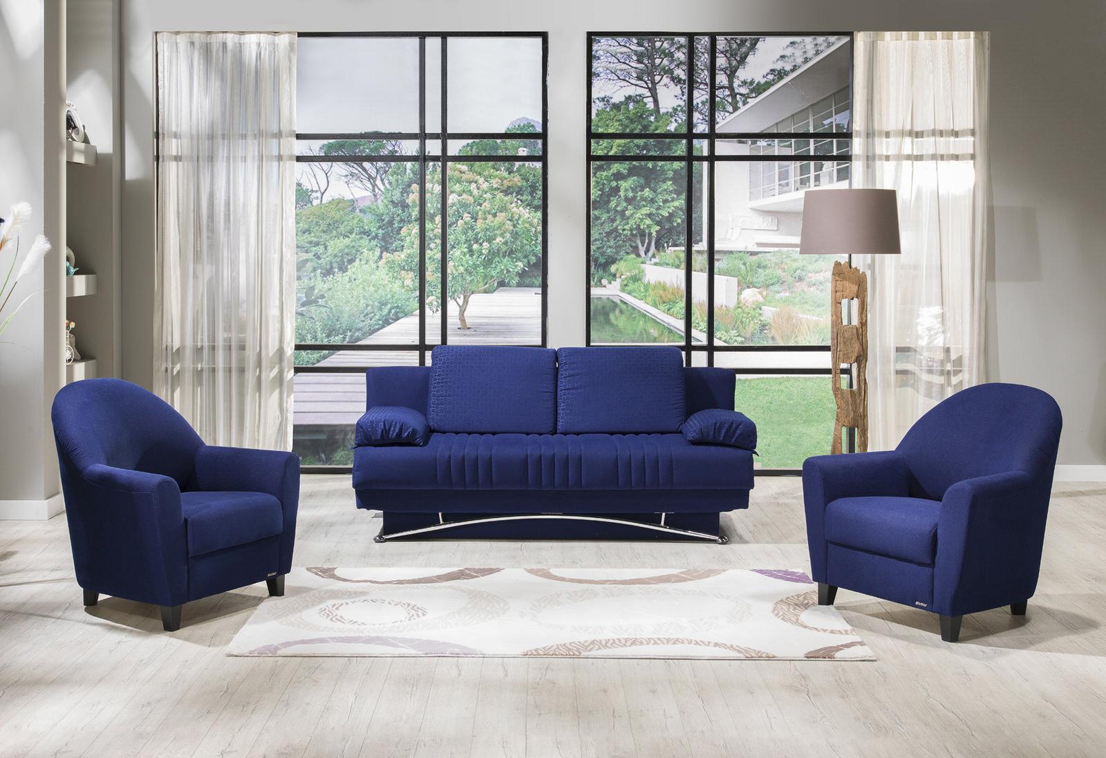 Fantasy Tetris Blue Sofa & 2 Chairs Set by Istikbal Furniture