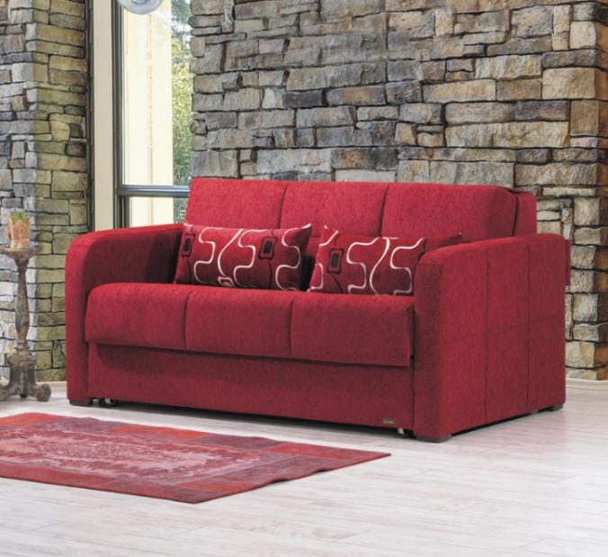 Ferra Fashion Red Convertible Loveseat by Casamode
