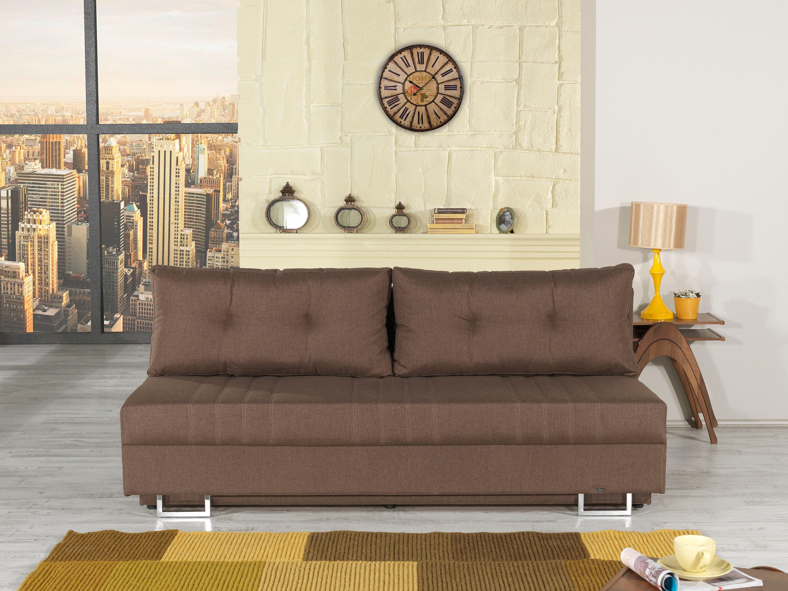 flex motion brown queen sofa bed w storage by casamode