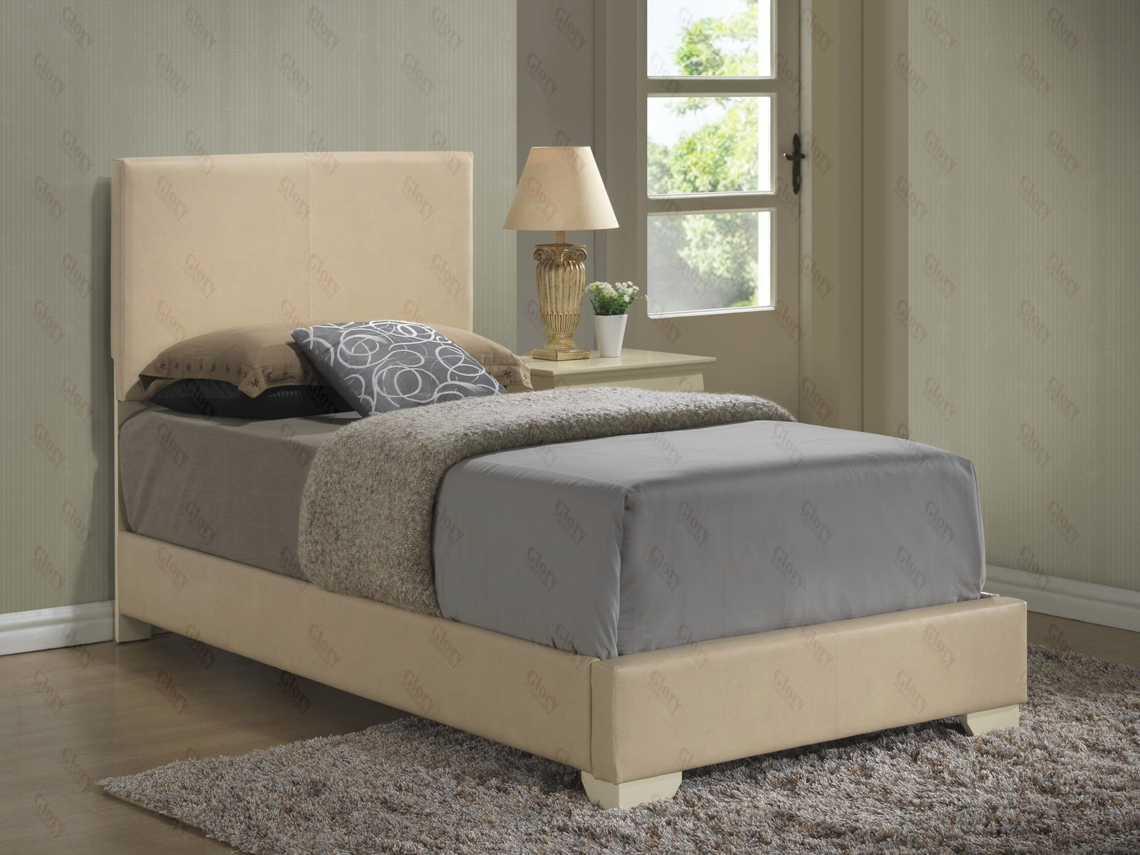 twin upholstered bed with mattress set free delivery in nyc glory furniture - Twin Bed Frame And Mattress Set