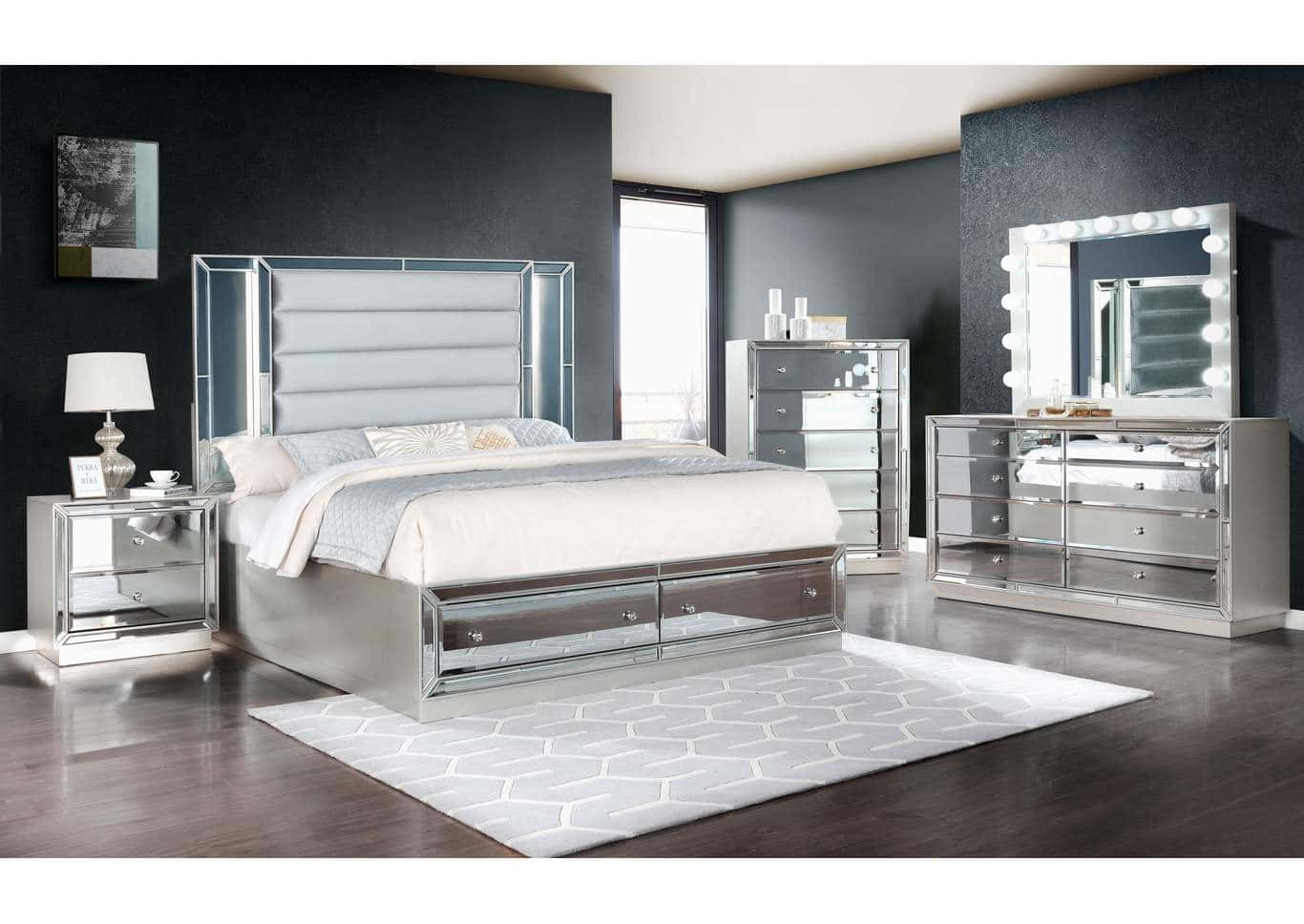 Infinity Silver Bedroom Set W Mirror Front By Galaxy Furniture