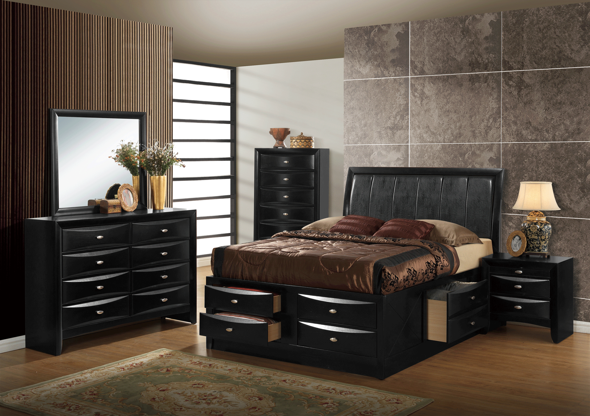 Hayden Black Bedroom Set By Global Furniture