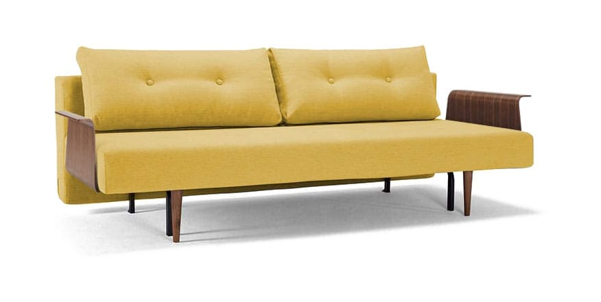 Recast Plus Sofa Bed W Walnut Arms Full Size Soft Mustard Flower By