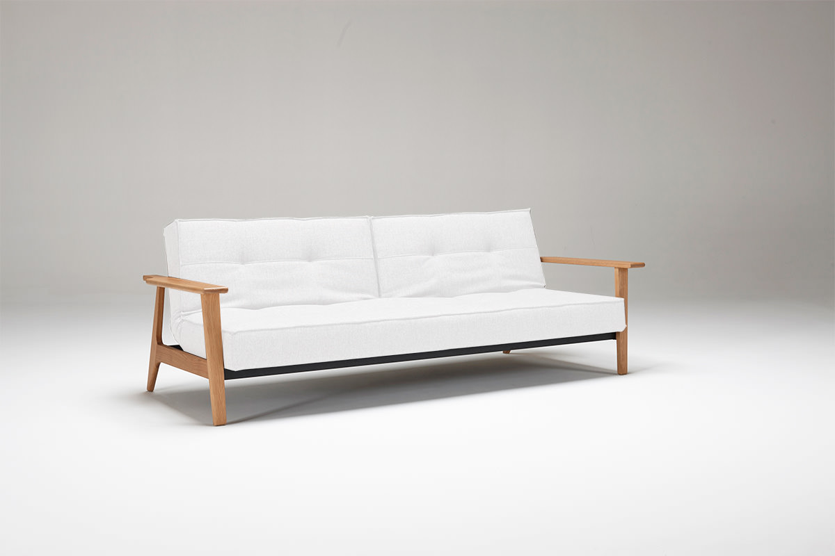 Splitback Sofa Bed W/Frej Arms White Leather Textile By Innovation ( Innovation USA)