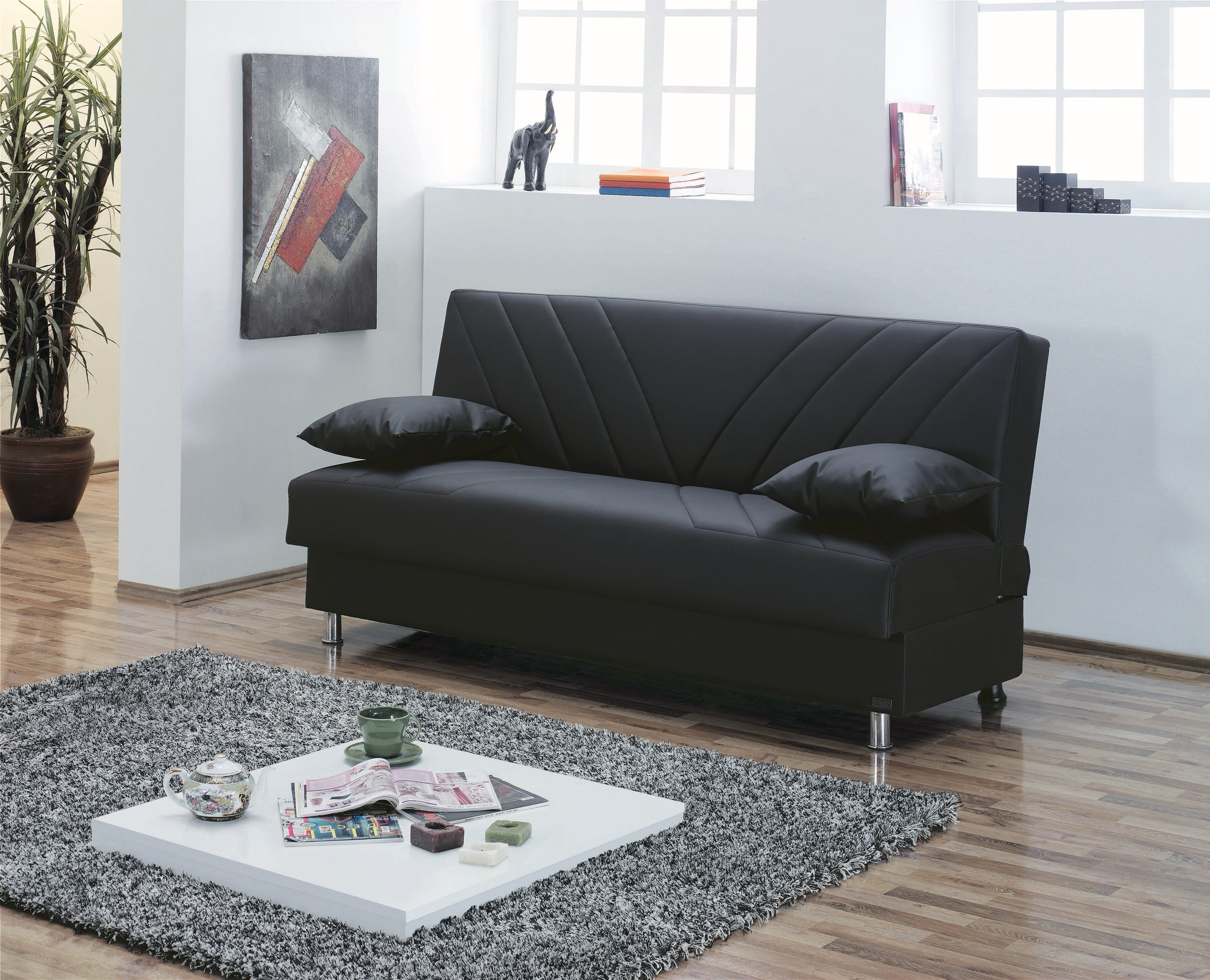 Halifax Black Leather Sofa Bed By Empire Furniture USA (Empire Furniture  USA)