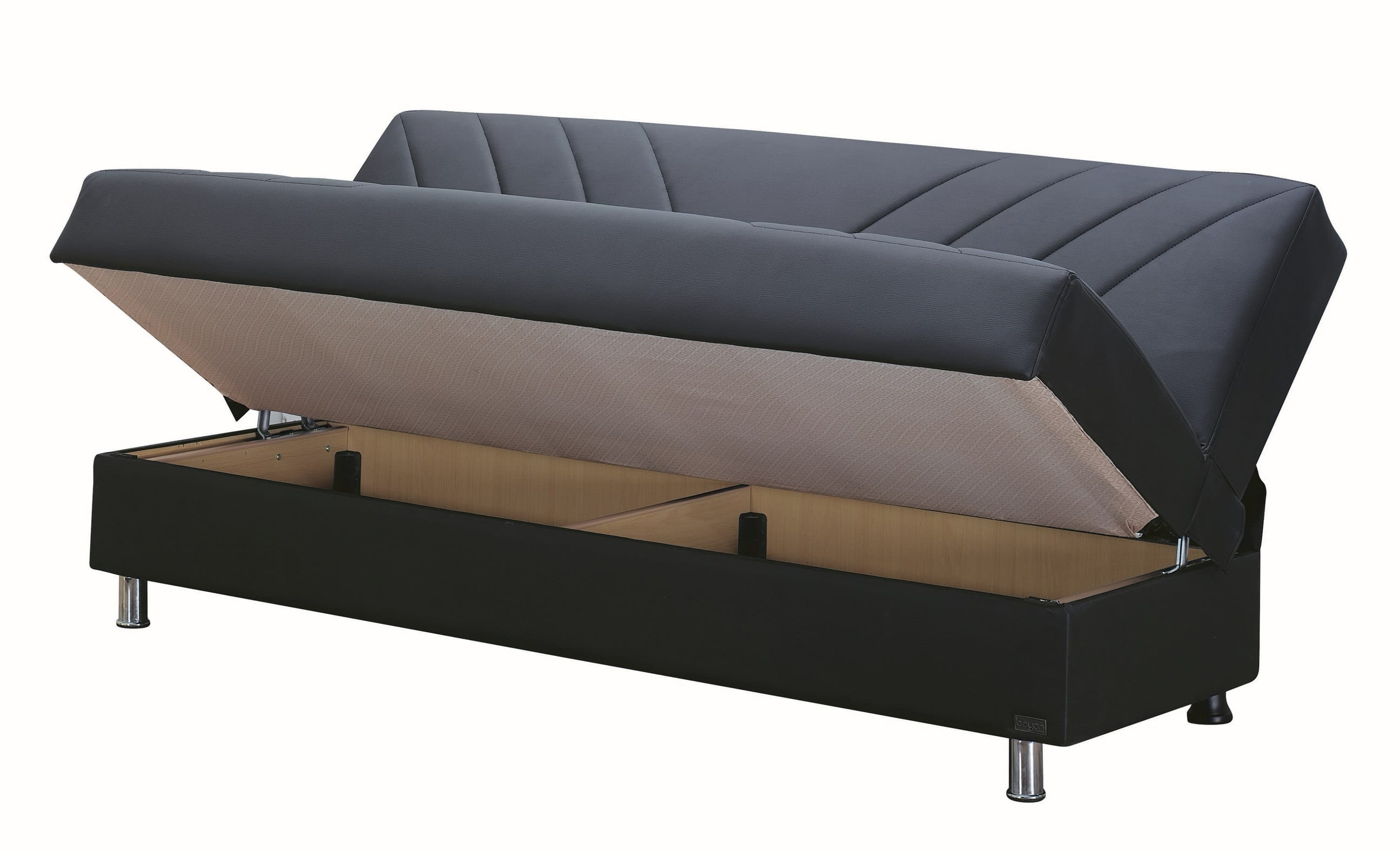 Halifax black leather sofa bed by empire furniture usa for Sofa bed usa