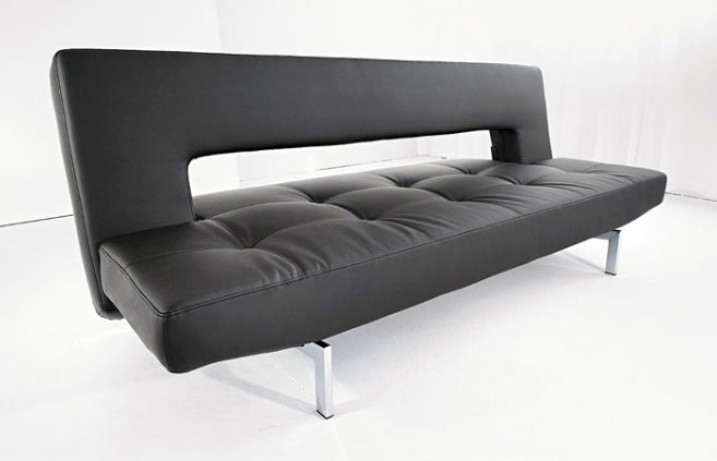Wing Deluxe Sofa Bed Black Leather Textile By Innovation Usa