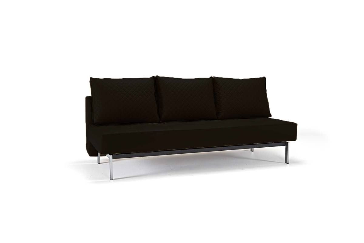 Sly Deluxe Q Sofa Bed Black Leather Textile by Innovation (Innovation USA)