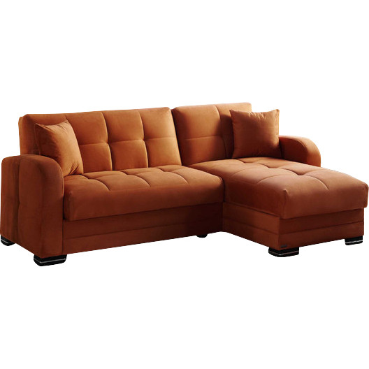 Kubo Sectional Sofa Bed In Rainbow Orange