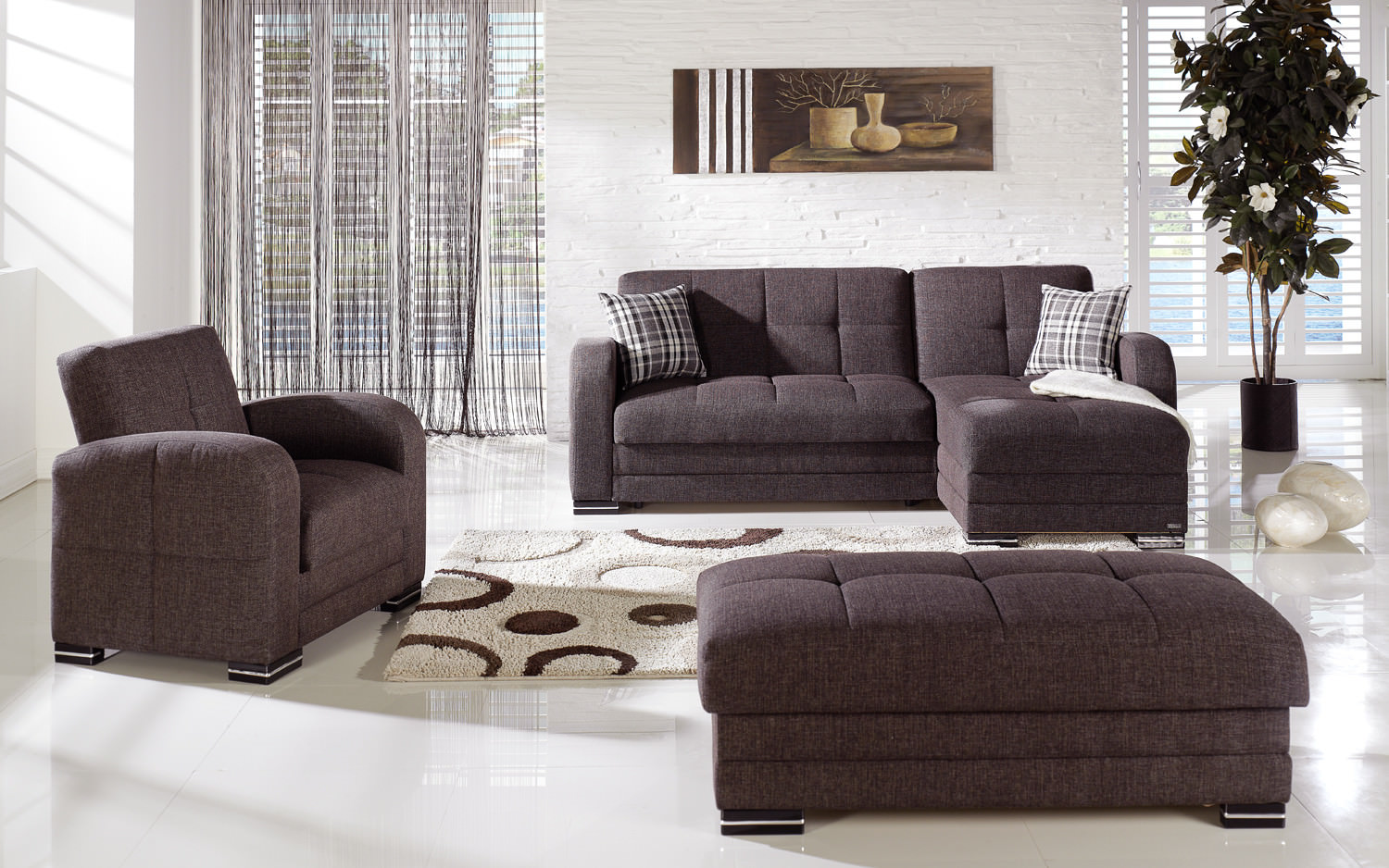 Kubo Andre Dark Brown Sectional Sofa By Istikbal Furniture