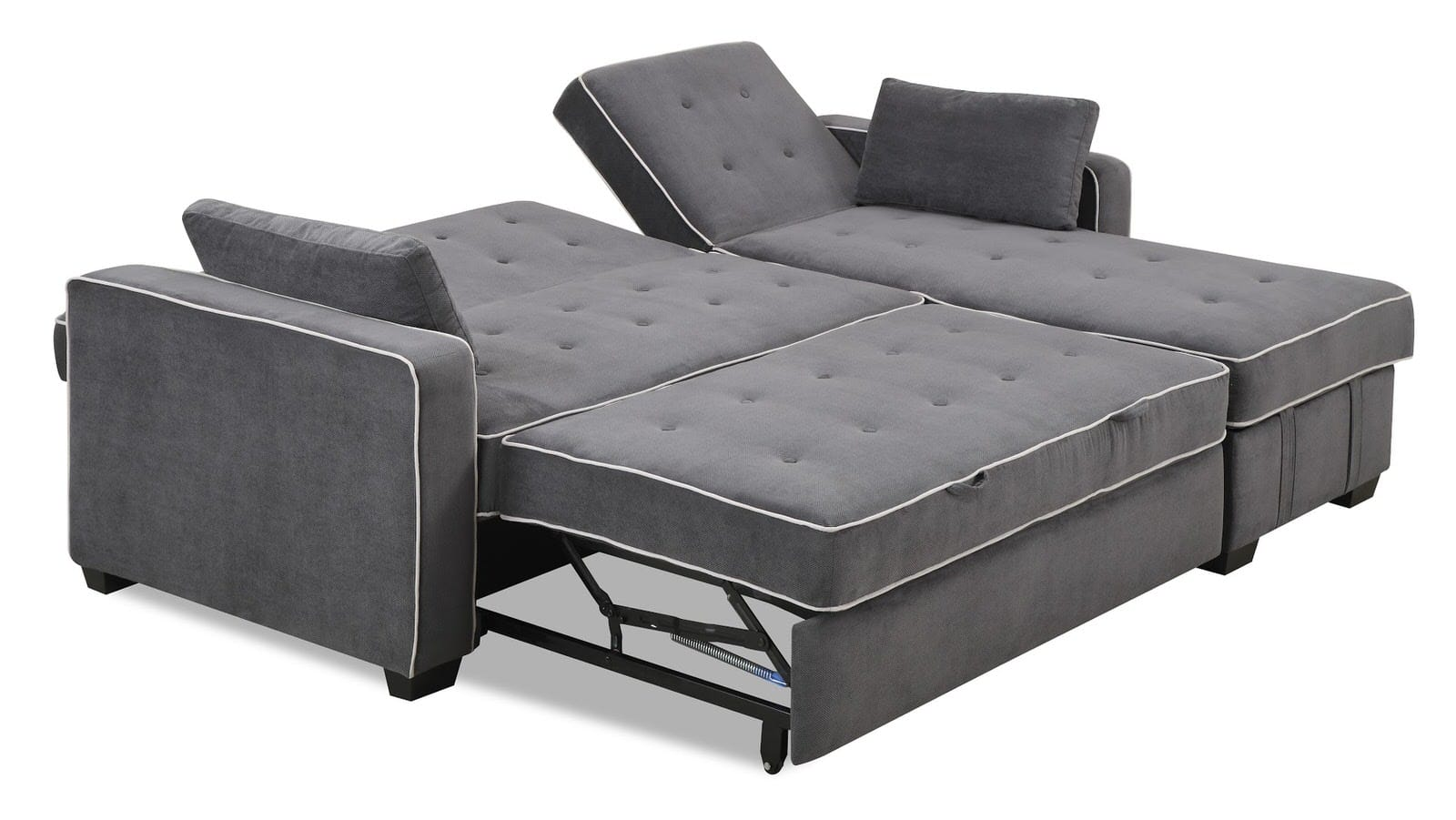 Augustine King Size Sofa Bed Moon Grey by Serta Lifestyle : JaquelineLeideninCharcoalGreyBedChaiseAngled from www.functionalfurniturenyc.com size 1600 x 901 jpeg 203kB