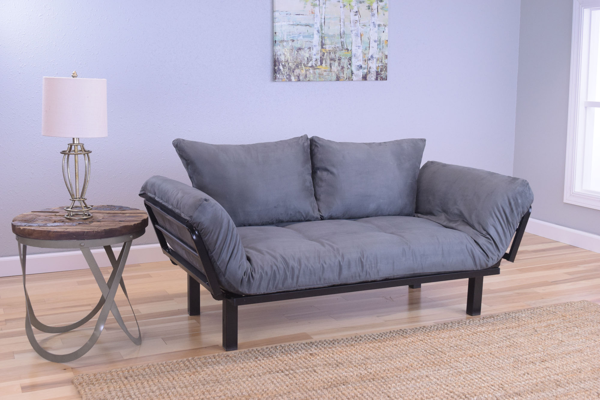 Spacely Futon Daybed Lounger with Mattress Suede Gray by Kodiak