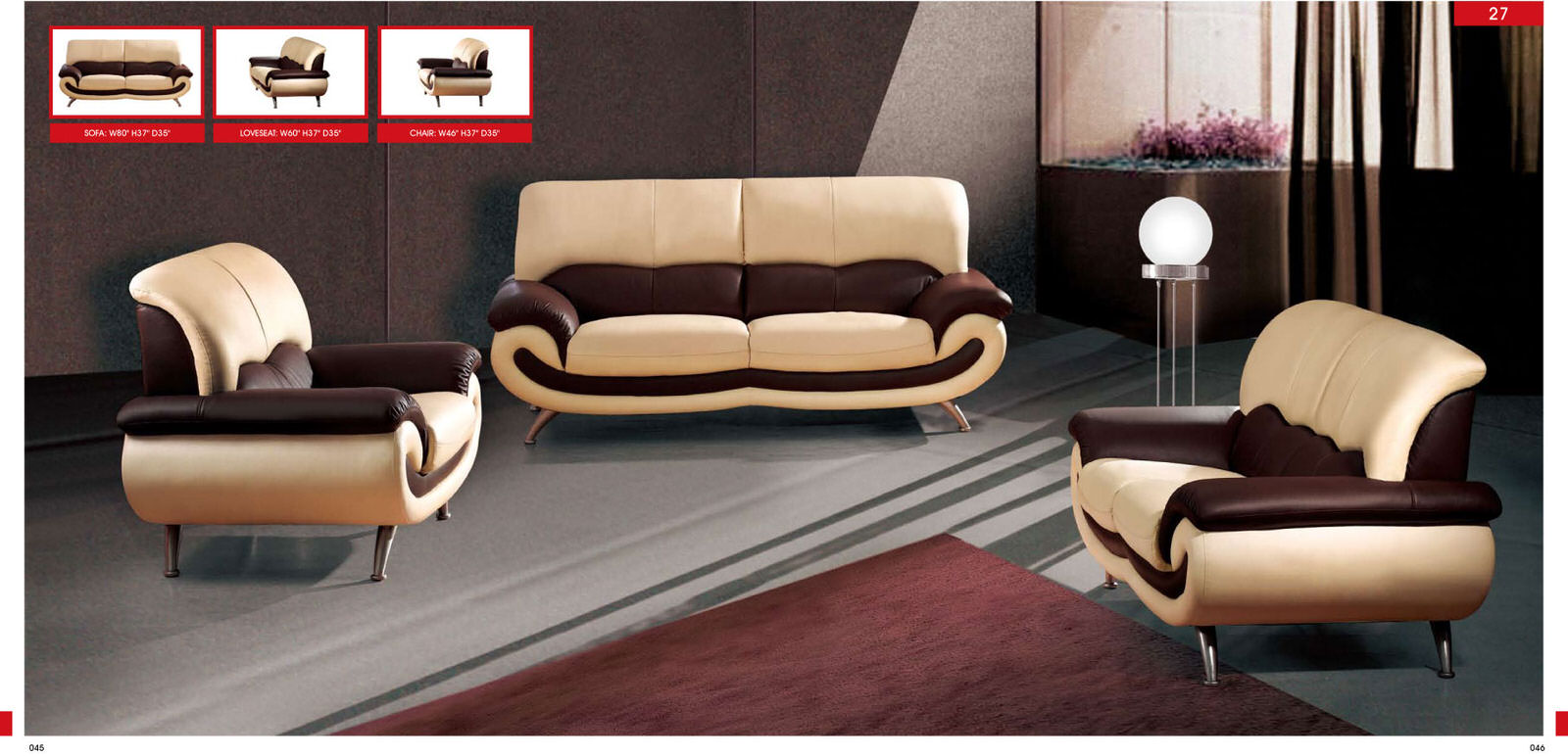 27 cream leather sofa by esf