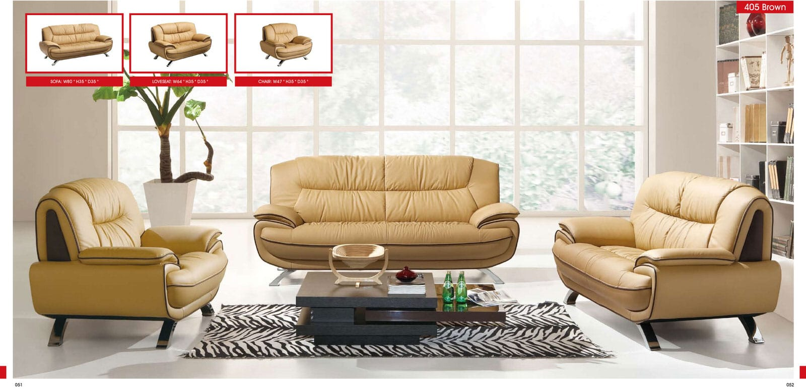 405 Brown Leather Sofa Set By Esf