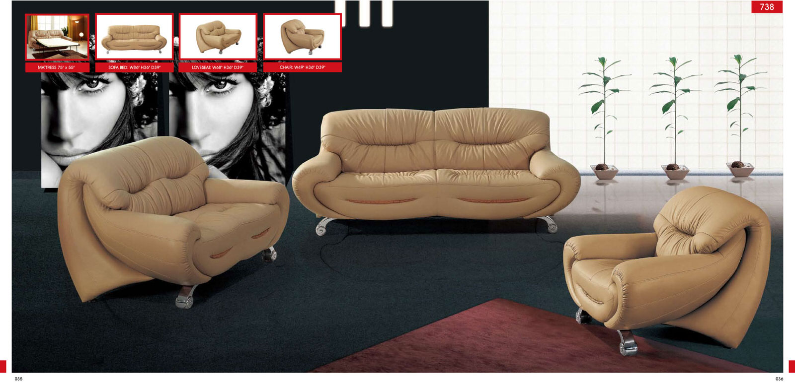 738 Convertible Sofa Leather by ESF