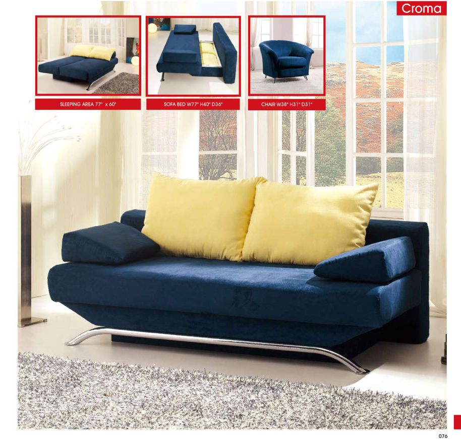 Croma blue fabric sofa bed by esf Couch converts to bunk bed price