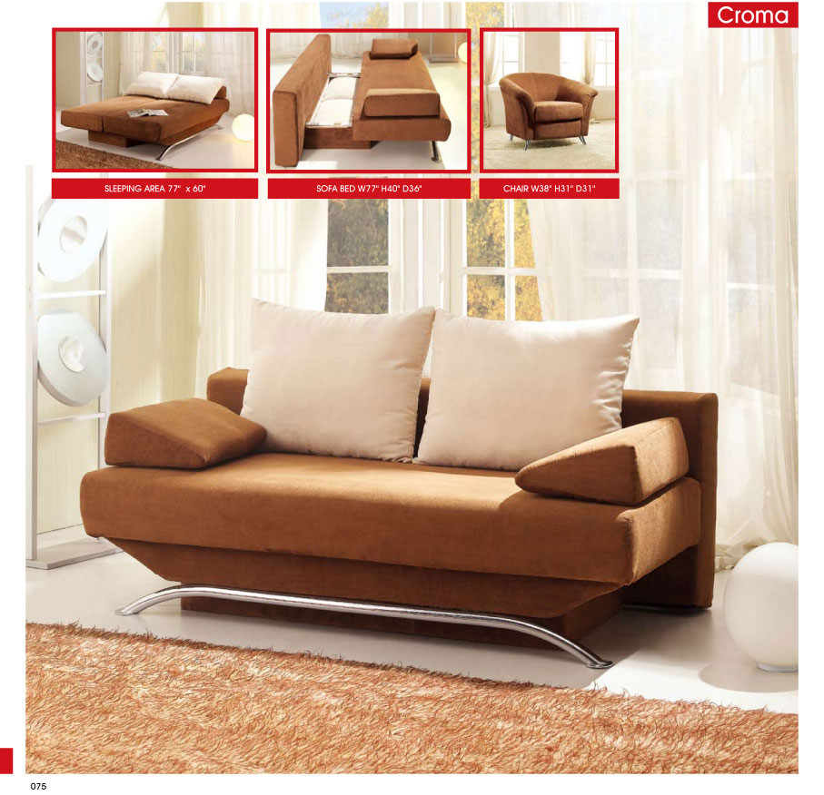 Croma Brown Fabric Sofa Bed By Esf