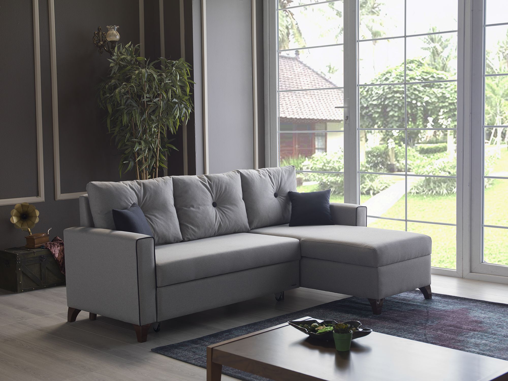 Lyon Oyem Gray Sectional Sofa Bed By Istikbal Furniture