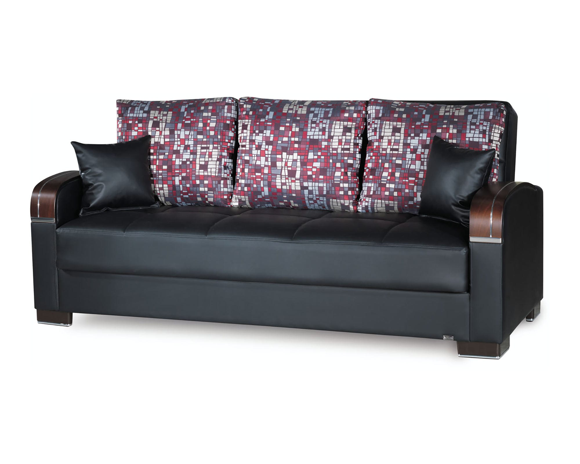 Mobimax Black PU Leather Convertible Sofa by Casamode