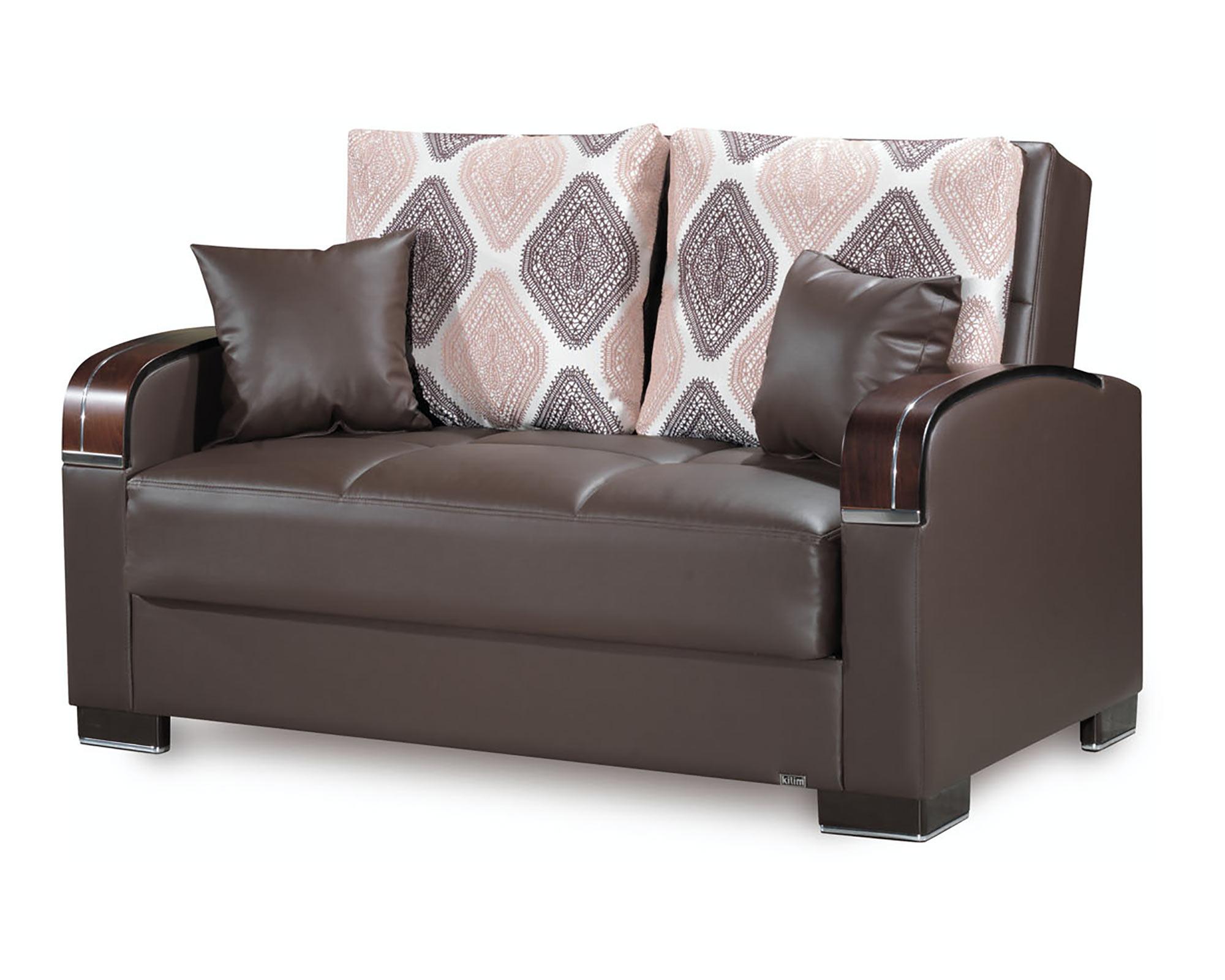 Astonishing Mobimax Brown Pu Leather Convertible Loveseat By Casamode Inzonedesignstudio Interior Chair Design Inzonedesignstudiocom