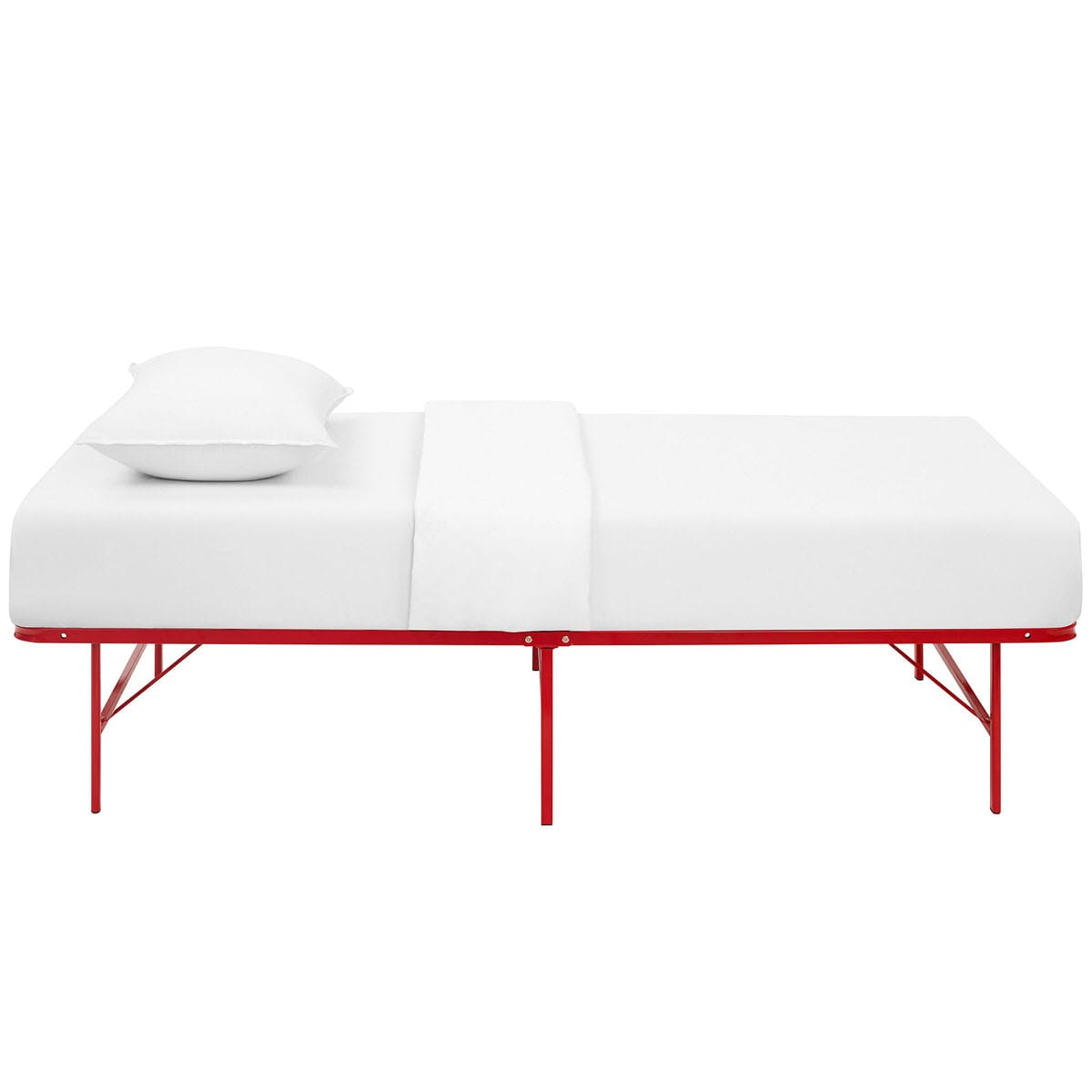 Horizon Twin Stainless Steel Bed Frame Red by Modern Living