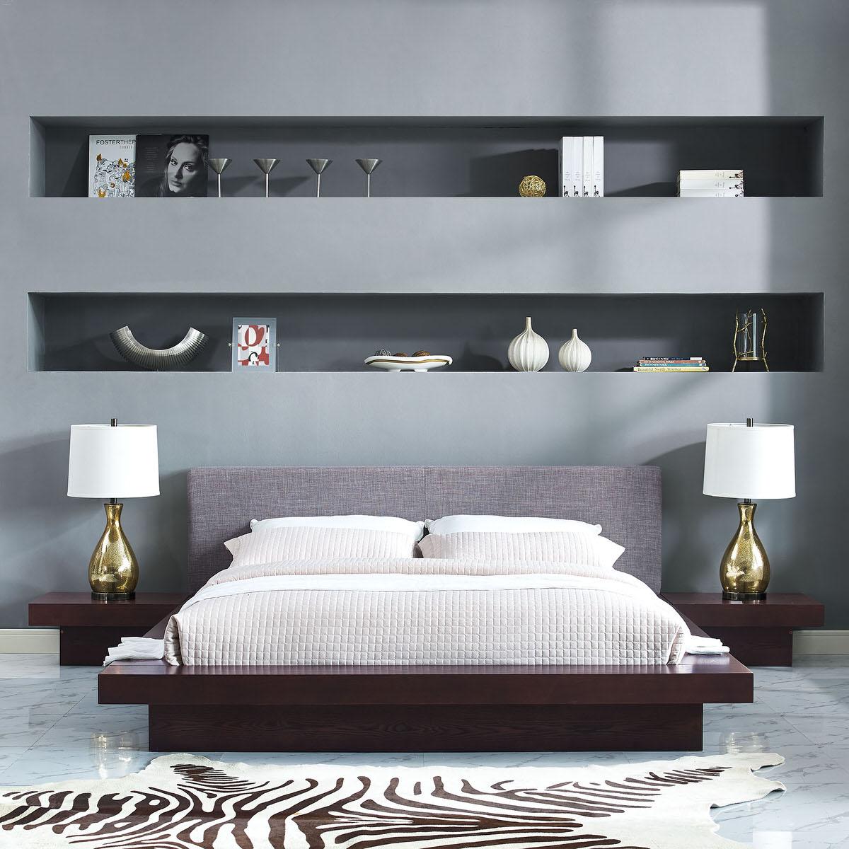 Freja 3 Piece Queen Fabric Bedroom Set Cappuccino Gray By Modern Living