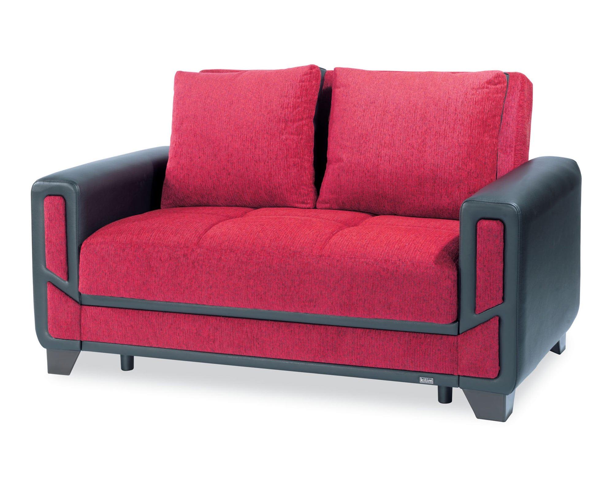 Mondo Modern Red Convertible Loveseat By Casamode