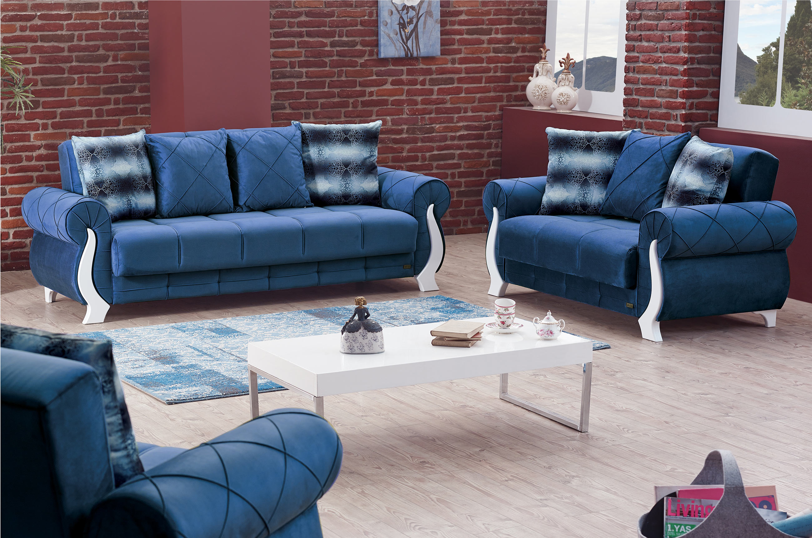 Montreal Blue Fabric Sofa Bed By Empire Furniture Usa