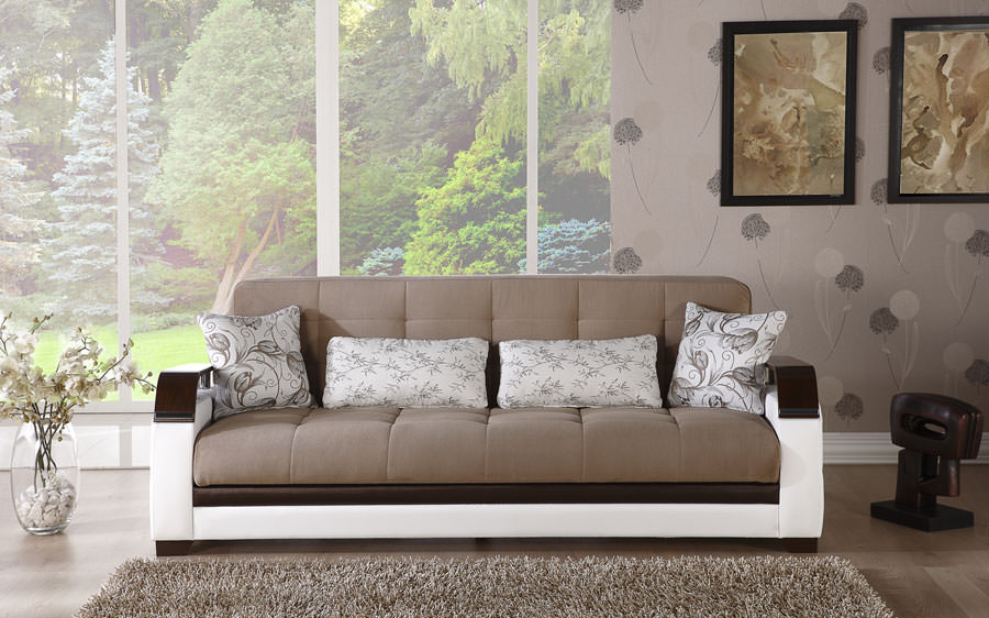 Natural Naomi Light Brown Convertible Sofa Bed By Istikbal Sunset