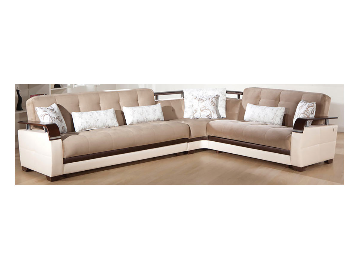 Natural naomi light brown sectional sofa by istikbal sunset for Sofa natura 6650