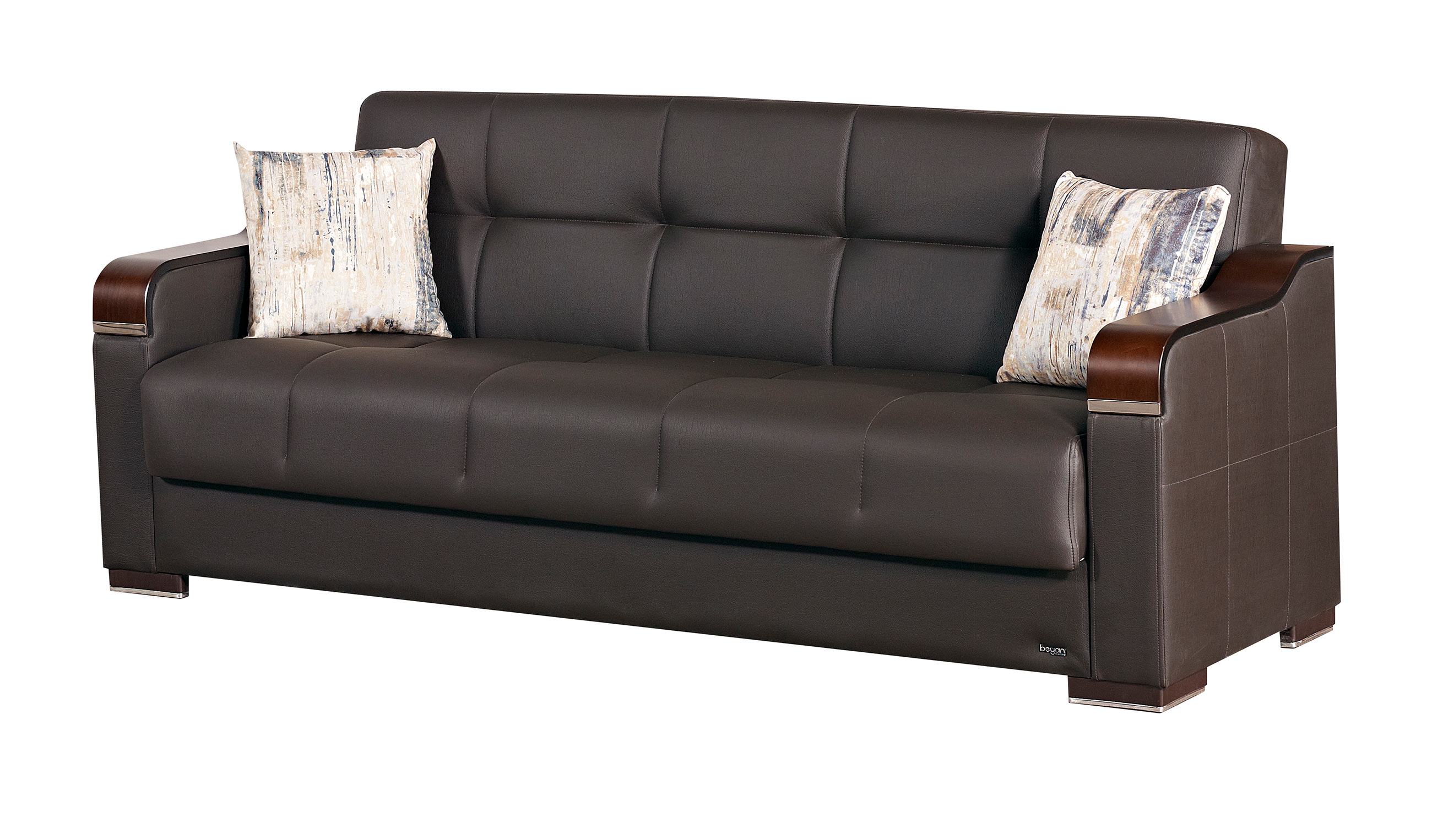 Paramus dark brown fabric sofa bed by empire furniture usa for Divan furniture usa