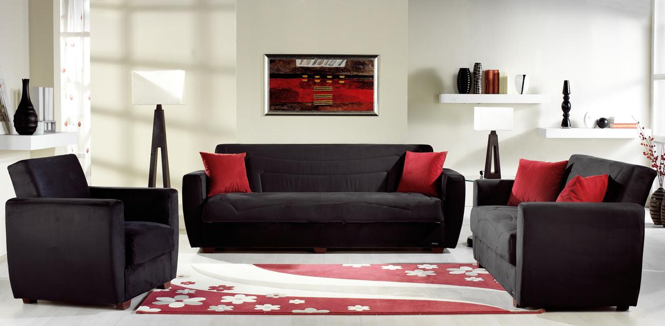 Power Rainbow Black Sofa, Love & Chair Set By Sunset (sunset International  (istikbal
