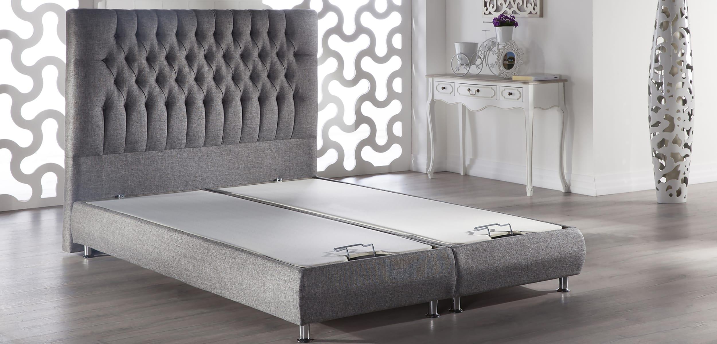 Prince Storage Bed W Tufted Headboard Diego Gray By Istikbal Furniture