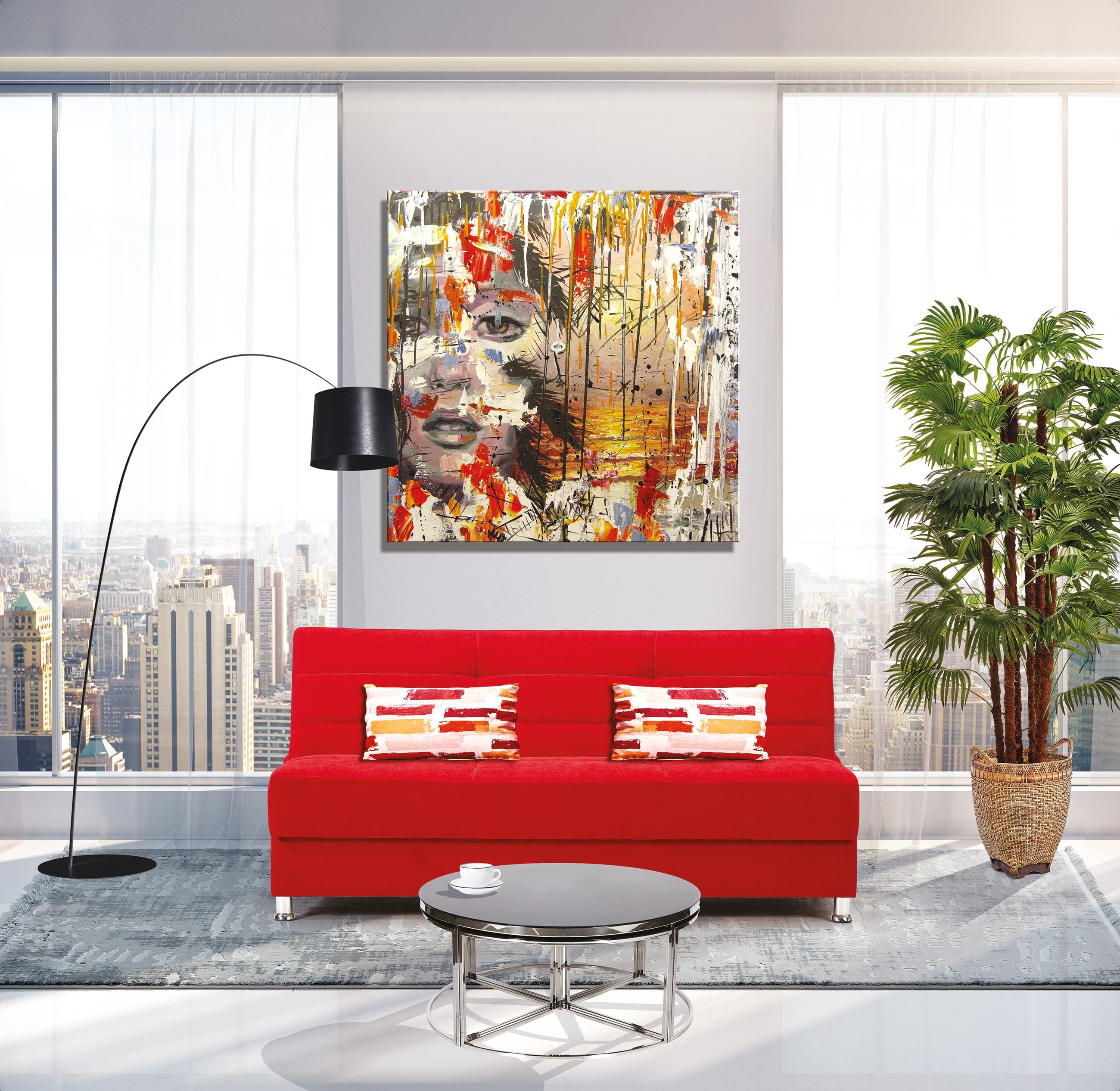 Rainbow Prusa Red Convertible Sofa by Casamode