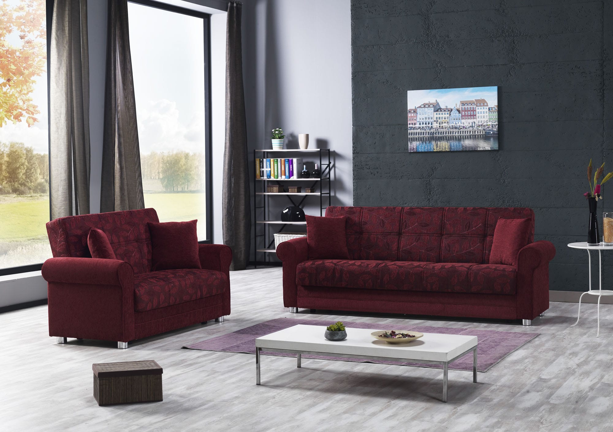 Image of: Rio Burgundy Sofa Bed By Casamode