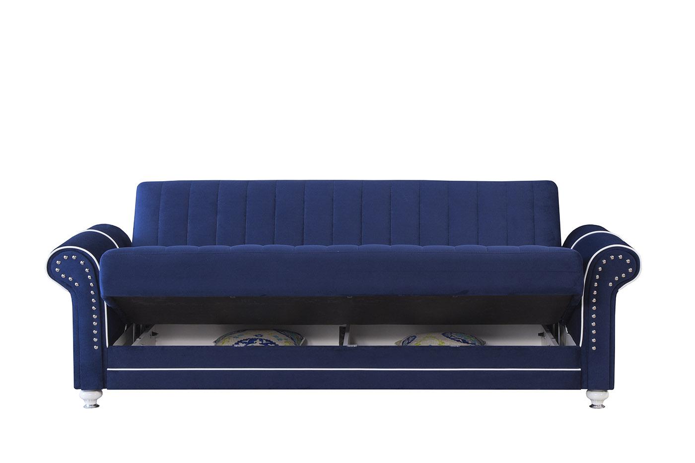 Royal Home Riva Dark Blue Convertible Sofa by Casamode